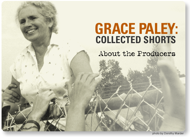 Grace Paley climbing a fence